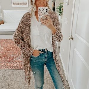 Marbled cardigan sweater with fringe detail
